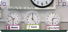 Set clocks for important times throughout the day so students know when to expect it!