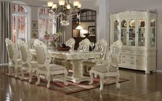 Shop Meridian Furniture Madrid Pearl White Dining Room Set with great price, The Classy Home Furniture has the best selection of Counter Height / Bar sets to choose from White Dining Room Sets, Formal Dinning Room, Elegant Dining Room, Luxury Dining Room, Dining Room Table, Table And Chairs, Side Chairs, Dining Chairs, Dining Set