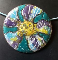 Enamel pendant or brooch: this was my first try when playing around with W.Ball Liquid enamels (UK)