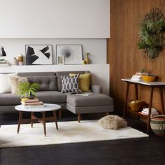 mix of gray, pale yellow on rug, olive green pillow, & orange accent bowl...& brown & white