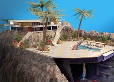 A big diorama I created after building the Thunderbird 2 hangar kit that came out a few years back- this shows the Cliff House and the swimming pool Thunderbird 1 launchs from Mid Century Art, Mid Century House, Mid Century Design, Tv Vintage, Thunderbird 1, Thunderbirds Are Go, Bond, Cliff House, Cult