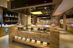 Buffet Area in the Hotel Banyan Tree Yangshuo, Guilin, Guangxi, China Rustic Restaurant Interior, Deep Soaking Bathtub, Hotel Buffet, Family Friendly Resorts, Public Space Design, Swim Up Bar, Guilin, Mandarin Oriental, Treatment Rooms