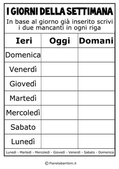 Ieri-Oggi-Domani_2 Dementia Activities, Preschool Activities, Italian Lessons, Dual Language, Italian Language, Learning Italian, Language Activities, Learn English, Back To School