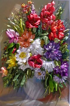 Composition of flowers. Framework embroidered with silk ribbon