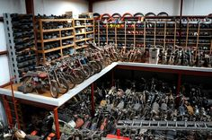Hm, lets see where did I park my bike? Vintage Bikes, Vintage Motorcycles, Cool Motorcycles, Motorcycle Shop, Motorcycle Garage, Motorcycle Workshop, Motorcycle Museum, Mechanic Garage, Man Cave Garage