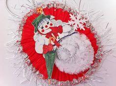 SNOWWOMAN vintage style CHENILLE ORNAMENT by StanleyAndStewart, $7.50