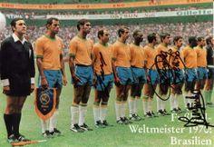 1970 Brazil football soccer Team left to right: (linesman), Carlos Alberto, Brito, Gérson, Piazza, Everaldo, Tostão, Clodoaldo, Rivellino, Pelé, Jairzinho, Félix.