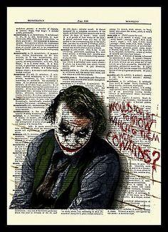 The Joker (Heath Ledger) Dark Knight Upcycled Dictionary Art Print Poster Joker Images, Joker Pics, Joker Art, Heath Ledger Dark Knight, Joker Dark Knight, Joker Heath, The Joker, Heath Legder, Batman Comic Art