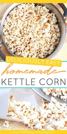 There are few treats I like more than the simplicity of old-fashioned kettle corn. And making it at home is easier than you might think--with just a few ingredients and five minutes of cooking, movie night just got so much better! Homemade Kettle Corn, Kettle Corn Recipes, Kettle Corn Seasoning Recipe, Homemade Popcorn Seasoning, Flavored Popcorn, Snack Recipes, Cooking Recipes, Healthy Popcorn Recipes, Sweet Popcorn Recipes