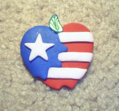American Apple Pin  P037 by artsdaughter on Etsy
