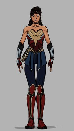 Wonder Woman - I wanted to redo her last one I uploaded.this time with like modern made armor and equipment, but in her style. Batman Wonder Woman, Wonder Woman Comic, Wonder Women, Female Superhero, Superhero Design, Superhero Suits, Dc Comics Heroes, Batman Comics, Bruce Timm