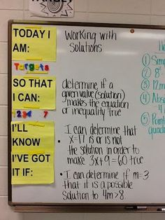 "I really like this idea for student's to self monitor what they should be learning. ""Today I am . . . "" ""So that I can . . . "" ""I'll know I've got it if . . . "" Maybe students can fill in the last prompt on their own (later in the year)."