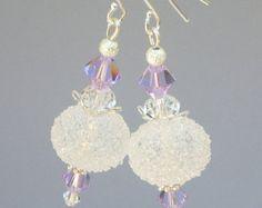Lavender crystal earrings Vitrail Light Swarovksi by Mindielee