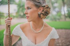 LOVE this bride's look! Her accessories, her hair, her makeup- everything!