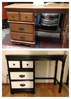 Before After Old Ethan Allen Desk Made Into A New Makeup