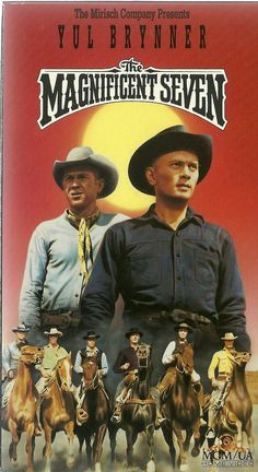 Yul Brynner, Steve McQueen, Charles Bronson, James Coburn and others - The Magnificent Seven, 1960 Iconic Movies, Old Movies, Vintage Movies, Western Film, Western Movies, Westerns, Magnificent Seven Movie, Cinema Posters, Movie Posters