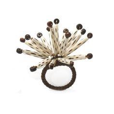 Deborah Rhodes Antique Brown Bone Burst Napkin Ring S/6