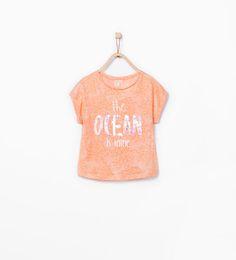 Sequin text T-shirt