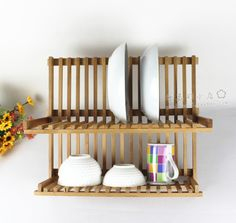 Dream with myWishBoard Wooden Plate Rack, Plate Rack Wall, Wooden Rack, Plate Racks, Home Decor Kitchen, Diy Kitchen, Kitchen Interior, Home Kitchens, Hardwood Furniture