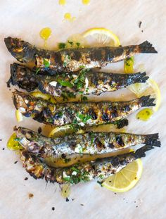 Grilled Sardines with Salmoriglio Sauce (Sardine alle Griglia con Salsa al… Fish Recipes, Seafood Recipes, Cooking Recipes, Healthy Recipes, Sauce Recipes, Simple Recipes, Food For Blood Type, Grilled Sardines, Bbq Party