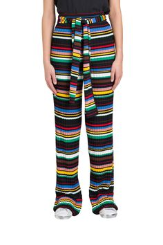 M Missoni Multicolor Stripes Trousers In Knit Palazzo Trousers, Missoni, Pajama Pants, Stripes, Shorts, Knitting, Cotton, Sash, Shopping