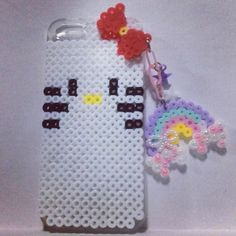 Hello Kitty smartphone cover perler beads by natdeco9