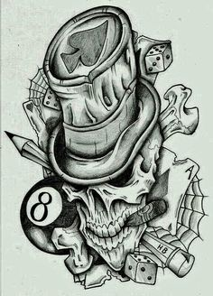 Hat skull new tattoos, badass tattoos, skull tattoos, dream tattoos, back tattoos Skull Tattoo Design, Henna Tattoo Designs, Skull Tattoos, Rose Tattoos, Body Art Tattoos, Chicano Tattoos, Badass Tattoos, Evil Skull Tattoo, Butterfly Tattoos
