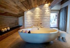 A bathroom in The Lodge - Richard Branson's exclusive Verbier ski lodge
