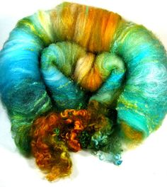 Gilded Turquoise Wild Card Bling Batt for by yarnwench,