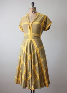 1950s dress - yellow plaid party dress. $145.00, via Etsy.