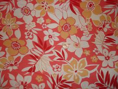 Yellow and  orange floral print on cotton jersey knit fabric