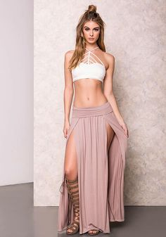 Mocha High Slit Jersey Maxi Skirt - LoveCulture.com ♡