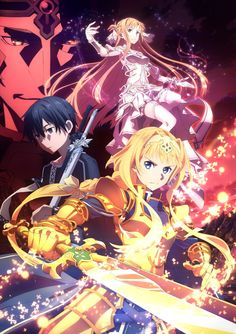 Alice, Asuna, Kirito and Vector (aka Gabriel Miller) promotional poster for part of Sword art online Alicization. Anime: Sword Art Online Alicization: War of Underworld . Sword Art Online Kirito, Sword Art Online Cast, Sao Anime, Anime Manga, Manga Girl, Anime Girls, Rwby Anime, Kunst Online, Online Art