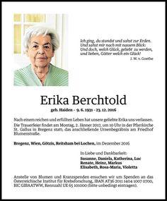 Todesanzeige Für Erika Berchtold Vom 29.12.2016   VN Todesanzeigen