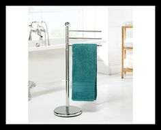 Chrome Towel Stand tall chrome towel rail with a weighted base to uphold balance. Simple self-assembly required. Chrome Towel Rail, Bathroom Essentials, Simple, Base