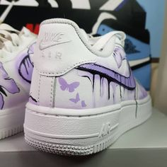 Custom Air Force 1 Butterflys by Cute Nike Shoes, Cute Nikes, Cute Sneakers, Nike Air Shoes, Cute Converse, Nike Air Force One, Air Force One Shoes, Custom Painted Shoes, Custom Shoes