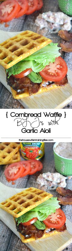 Cornbread Waffle BLT's with Garlic Aioli are crispy and sweet cornbread waffles, layered with smoky bacon, fresh lettuce, creamy avocado and garlic aioli for a delicious twist on the classic BLT! #glutenfree #BLT #sandwich