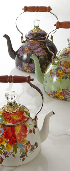 Tea Party | New Tea kettles, by Mackenzie Childs. The floral patterns really tickle my soul.