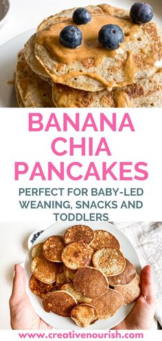 Super healthy, high protein, dairy-free banana pancakes. Perfect for picky eaters, as a finger food, baby led weaning, baby snack, toddler snack and family breakfast. Oatmeal banana pancakes #oat #baby #easy #healthy
