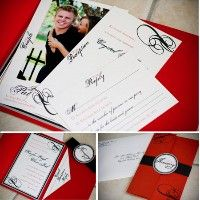 diy red black and white tri-fold wedding invitations