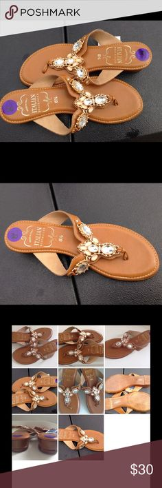 """ITALIAN 100% LEATHER RHINESTONE T-THONGS  SANDALS Get a chic minimal look with this  Authentic Italian shoemakers T- Thong sandals SZ 8 Cognac  100% leather Embellished slide entry instep with beautifully jeweled details, smooth cushion insole, stacked square 1.5"""" heel, Length 10"""", wide 3.5"""" ITALIAN SHOEMAKERS Shoes Sandals"""
