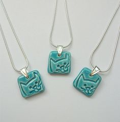 Turquoise Ceramic Cat Pendant Necklace on a by TurquoiseHare,