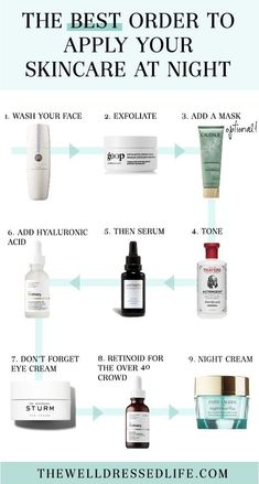 The Best Order to Apply Your Skin Care Products at Night  6. Serum Essential: It's 100% natural and under $12 - no wonder it's rated one of the best natural skincare products of 2019. Plant-based squalane oil is a dermatologist and clean beauty must-have. Squalane oil moisturizes, treats, rebalances and hydrates thirsty while helping repair and protect skin cells naturally and eco-sustainably. #cleanbeauty #skincare #squalane #skin #beauty