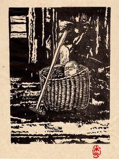 'Baby in a Box' linocut by Jade They. www.jadethey.com. Tags: Linocut, Cut, Print, Linoleum, Lino, Carving, Block, Woodcut, Helen Elstone, Basket, Child, Alone.