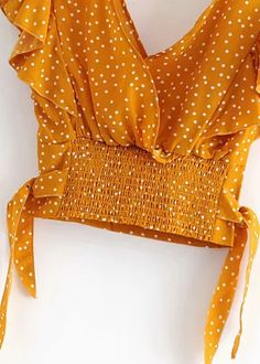 Ruffle Sleeves Crop Top   DISHEE Chiffon Fabric, Ruffle Sleeve, Casual, Ruffles, Elastic Waist, Bell Sleeve Top, Crop Tops, Sleeves, Blouses