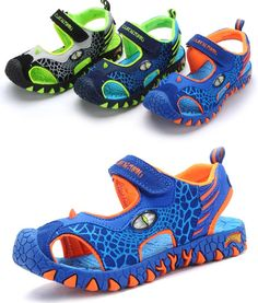 Sandalds with dinosaurs and Led Sailing Boots, Cheap Sandals, Beach Shoes, Kids Store, Kid Shoes, Summer Shoes, Boy Fashion, Kids Footwear, Dinosaurs