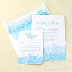 Waves Beach Wedding Invitations - Sample - in Blue and White. $4.99, via Etsy.