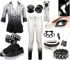Black and White A fashion look from February 2013 featuring plaid shirts, white pants and leather shoes. Browse and shop related looks. Cute Emo Outfits, Scene Outfits, Punk Outfits, Casual Outfits, Fashion Outfits, Skater Outfits, Batman Outfits, Disney Outfits, Fashion Looks