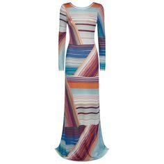 Missoni Multi Stripe Maxi Dress (€1.980) ❤ liked on Polyvore featuring dresses, multi colored summer dresses, missoni, colorful dresses, striped dress and summer maxi dresses