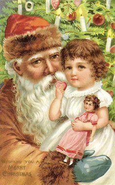 Vintage Christmas Card ~ Santa in Peach/Orange Robe & Hat